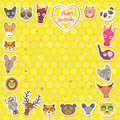 Funny Animals Happy birthday. Yellow Polka dot background. Vector