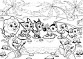 Funny animals in the jungle cartoon vector black and white illustration Royalty Free Stock Photo
