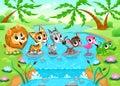 Funny animals in the jungle cartoon vector illustration Royalty Free Stock Photo