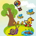 Funny animals kit vector graphic image with funky walking in the fields Royalty Free Stock Images