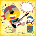 Music concert with animals cartoon vector Royalty Free Stock Photo
