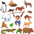 Funny animals set of different vector isolated on a white background Royalty Free Stock Photo