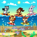 Funny animals surfing on the sea cartoon and vector illustration Royalty Free Stock Photo