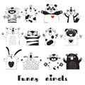 Funny Animals Tiger Pig Bear Fox Sheep Cat Pug Panda Rabbit for the design of childrens parties, rooms, stickers Royalty Free Stock Photo