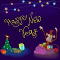 Funny ape card new year hand drawing with Royalty Free Stock Photo