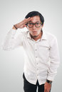 Funny Asian Man Looking Forward, Vision Concept Royalty Free Stock Photo