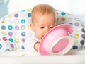Funny baby is eating from pink plate Royalty Free Stock Photo