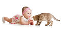 Funny baby girl playing with cat kitten Royalty Free Stock Photography