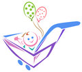 Funny baby in pram smiling isolated line art cartoon image Stock Photo