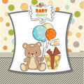 Funny baby shower card with cute teddy bear Stock Photography