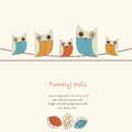 Funny background with owls cute sitting on wires cartoon style Stock Images