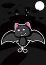 Funny bat in the night cute and vector illustration Stock Photo