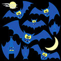 Funny bats cartoon for halloween designs isolated on black background Stock Photos