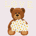 Funny bear with a bouquet Royalty Free Stock Images