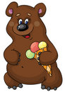 Funny bear and  ice cream Stock Photography