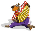 Funny bear plays the accordion and dancing Royalty Free Stock Photo