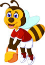 Funny bee cartoon carrying honey