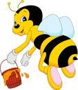 Funny bee cartoon hoding honey illustration of Royalty Free Stock Image