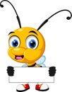 Funny bee cartoon holding blank sign illustration of Stock Photo