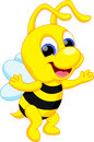 Funny bee cartoon illustration of Royalty Free Stock Images