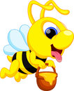 Funny bee cartoon illustration of Stock Photography