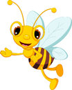 Funny bee cartoon waving illustration of Stock Photo