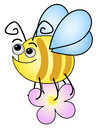 Funny bee on s white background Stock Photo