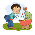 Funny big brother with stroller illustration in format Stock Photos