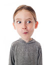 Funny big head child on white background Royalty Free Stock Photography