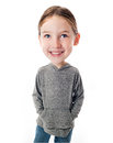 Funny big head child on white background Royalty Free Stock Image