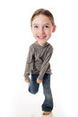 Funny big head child on white background Royalty Free Stock Images