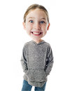 Funny big head child on white background Royalty Free Stock Photos