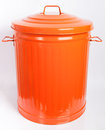 Funny bin nice closed orange on a white background Stock Photos