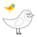 Funny bird coloring book. comical fowl in linear style Royalty Free Stock Photo