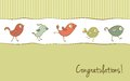 Funny birds greeting card vector with cartoon in retro colors Royalty Free Stock Photography