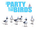 Funny birds wearing birthday party hats card humorous with confetti laying around them and a fun themed headline Stock Photography