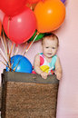Funny birthday girl with balloons Stock Photo