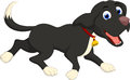 Funny black dog cartoon running