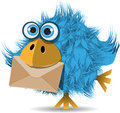 Funny  blue bird with envelope Royalty Free Stock Photo