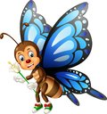 Funny Blue Brown Butterfly Wearing Green Shoes With White Flower Cartoon