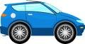 Funny blue car cartoon isolated on white background Stock Photos