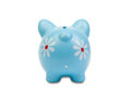 Funny blue piggy-bank View from behind Stock Photography