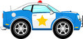 Funny blue police car cartoon Royalty Free Stock Photo