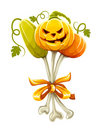 Funny bouquet made of halloween pumpkins on bones Royalty Free Stock Images