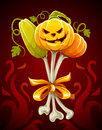 Funny bouquet made of halloween pumpkins on bones Royalty Free Stock Photos