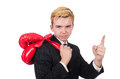 Funny boxer businessman in sport concept Stock Photo
