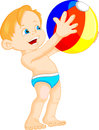 Funny boy with beach ball Royalty Free Stock Photo