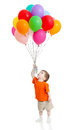 Funny boy with bunch of colorful ballons in hand Royalty Free Stock Photography