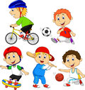 Funny boy cartoon character doing sport illustration of Stock Photos