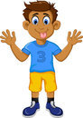 Funny boy cartoon showing his tongue Royalty Free Stock Photo